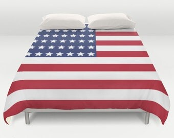 American Flag Bedding, Flag Duvet Cover, King Queen Full Twin, Size, Red Bed Cover, Red Blue Comforter, USA Bedroom, Stars and Stripes