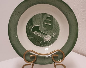 Two (2) Vintage Green Colonial Homestead by Royal Soup Bowls; USA; 1950s