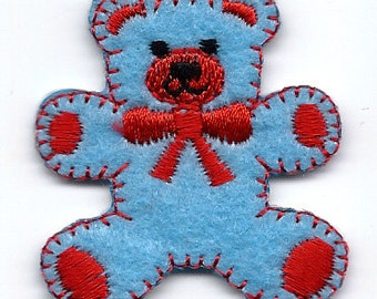 TEDDY BEAR blue bear with red ribbon Embroidered Iron On / Sew On Patch Applique ~ 1.5X1.75 inch