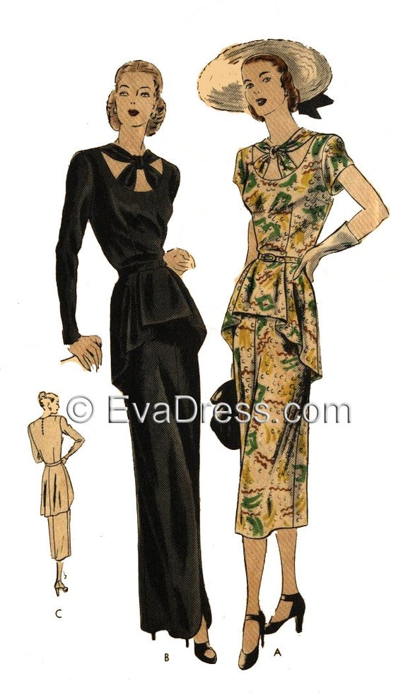 1940s Sewing Patterns – Dresses, Overalls, Lingerie etc 1947 One-Piece Evening or Day Dress Pattern by EvaDress  AT vintagedancer.com