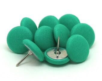 10 Small Green Fabric Push Pins, Pale Green Drawing Pins, Kona Cypress Thumb Tacks