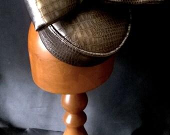 bronze bow pill box hat