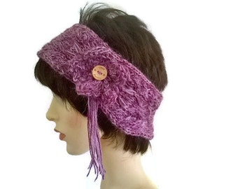 Alpaca Headband Knitting Pattern : Purple alpaca beanie Etsy