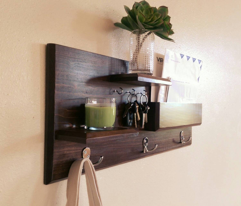 entryway organizer wall mounted floating shelf mail storage - Coat Hooks With Storage