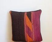 70s Vintage Handmade Kilim Purple Pillowcase