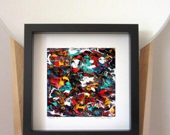 Small Framed Art, Framed 3D Art, Framed 6 x 6 Art, Framed Texture Art, Framed Boho Art, Framed Painting, Framed Wall Art, Framed Acrylic