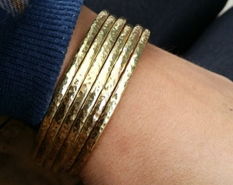 Gold Stackable Bangles, Raw brass bangles, hammered bangle set