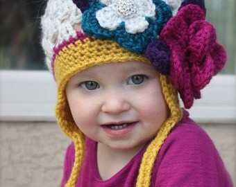 Crochet hat with flowers for baby, infant, newborn, toddler, newborn prop