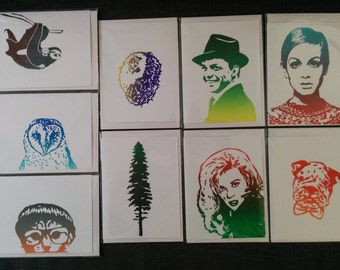 Save on a 4 Pack of Hand Printed Cards (coloured ink)!