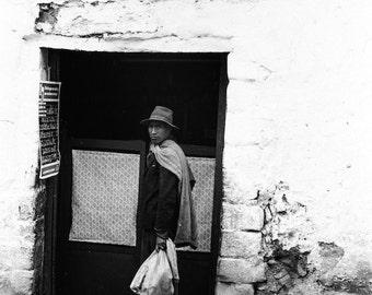 Indigenous people of Peru, Peru travel photo, Peruvian Andes, black and white photo, native Peruvian, vintage photo, Cusco Peru, era 1970s