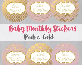 Baby Monthly Growth Stickers - Milestone Bodysuit Stickers - Blush and Gold Photo Stickers - Pink Baby Month Stickers - Baby Shower Gift
