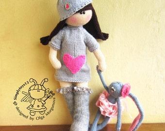 Doll Irishka- knitting pattern (knitted round) Doll- knitting pattern (knitted round) Amigurumi.