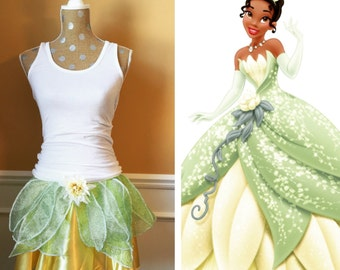 TIANA Princess and the Frog Inspired Running Skirt/ Athletic costume