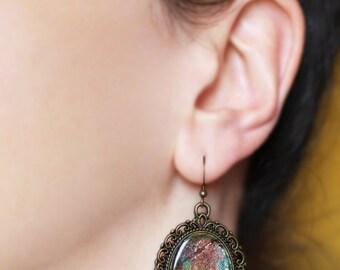Dangle earrings Colorful dangles Romantic jewelry Bohemian earrings Abstract jewelry Women gift for her Resin earrings Artistic drop earring