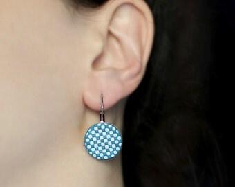 Ocean blue earrings, Geometric earrings, Polka dots jewelry, Blue and white dots earrings, Blue earrings, Blue jewelry, Custom color earring