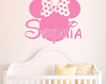 Girl Name Wall Decal- Minnie Mouse Wall Decals Personalized Name Stickers  Baby Kids Girls Room Decor Nursery Wall Art Home Interior M052