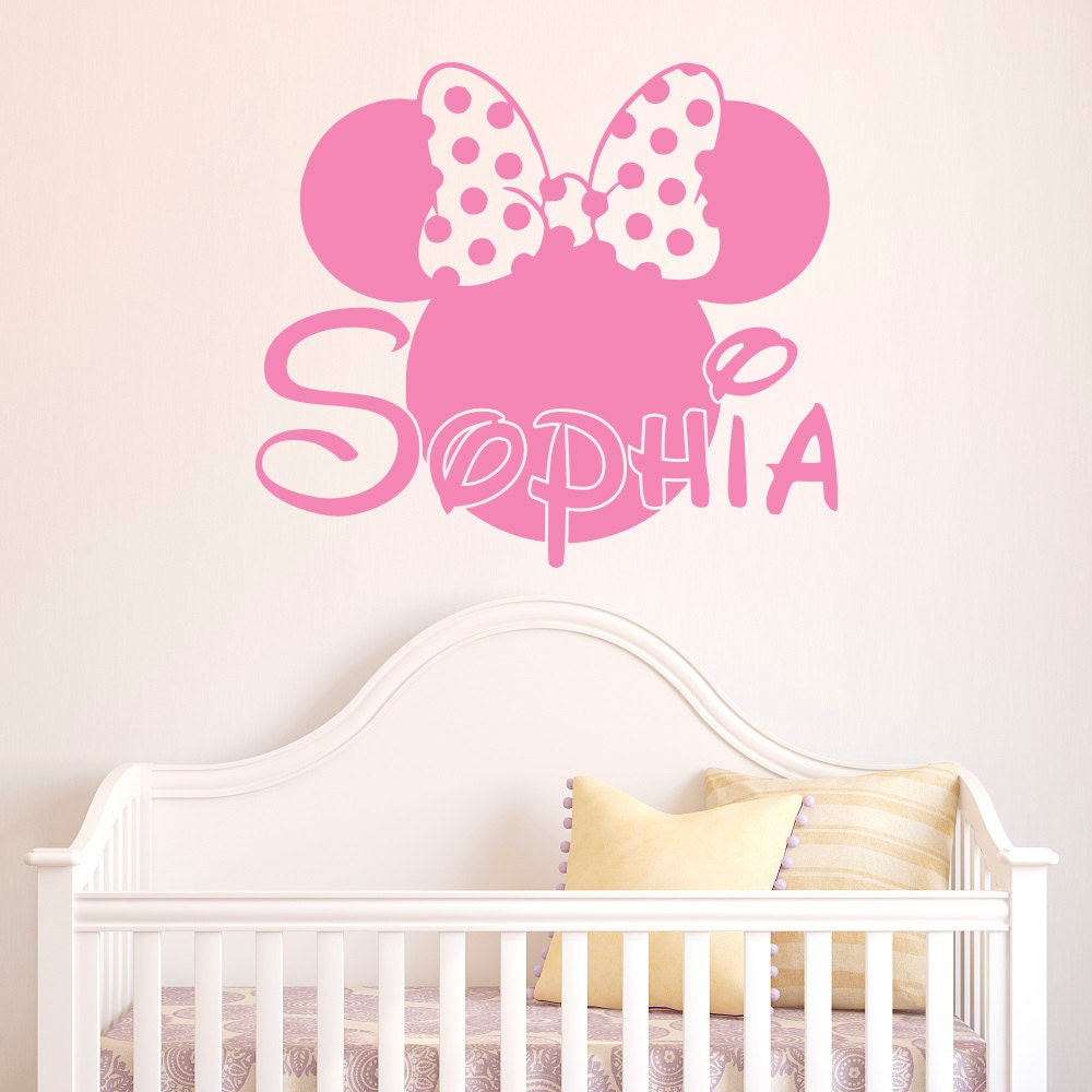 girl name wall decal minnie mouse wall decals personalized. Black Bedroom Furniture Sets. Home Design Ideas