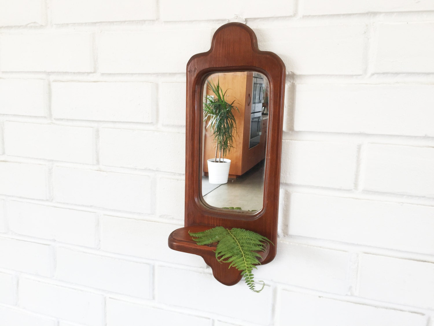 Vintage Wood Wall Mirror With Shelf by 6thAndDetroit on Etsy