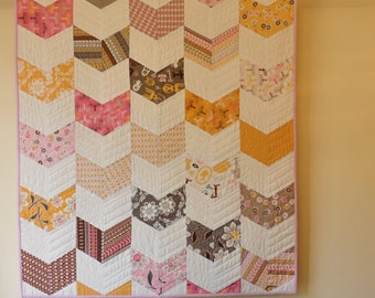 Pink Baby  Quilt, Daisy Cottage,Ready to Ship ,Cot quilt, Giggles Quilt, Modern Quilt,