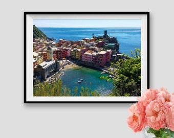 Italy Photography Cinque Terre Print Vernazza Italian Village Liguria Seascape Instant Download Print Italy Landscape