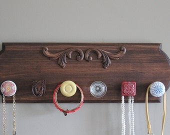 Jewlery organizer for wall, hanging jewlery, jewelry holder with knobs, necklace holder