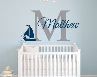 Nautical Name Wall Decal   Fishing Boy Wall Decal   Nursery Wall Decal    Personalized Name Part 80
