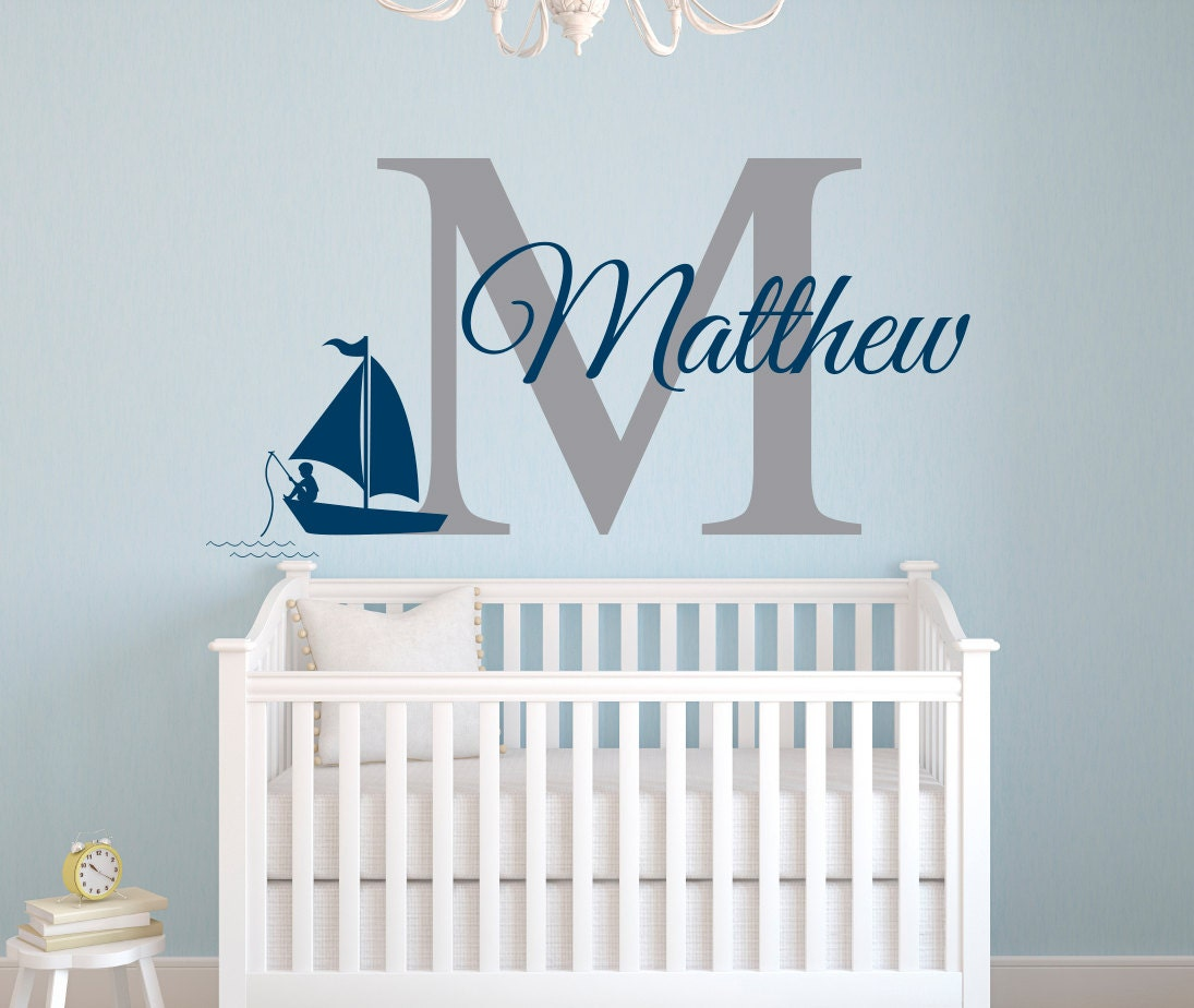 nautical name wall decal fishing boy wall decal nursery. Black Bedroom Furniture Sets. Home Design Ideas