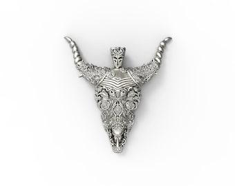 Bull skull pendant - sterling silver