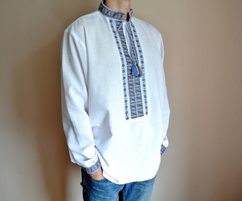 Handmade mens vyshyvanka ukrainian shirt embroidered