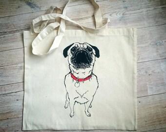 Hand Printed Pug Dog Cotton Tote Bag // Shoulder Bag // Beach Bag
