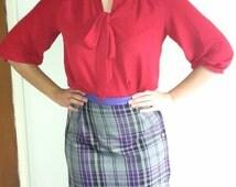 Tartan skirt, Button detailing, pencil skirt, purple and grey tartan, contrast waist band, size 10, size 12, winter skirt