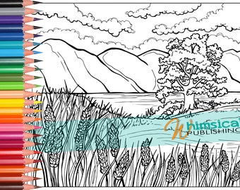 flower coloring pages lake trees coloring for grownups colouring page lupines mountain colouring pages landscape adult adults - Mountain Landscape Coloring Pages