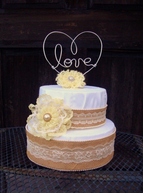 Love Heart Wire Cake Topper, Heart Cake Topper,Love Cake ...