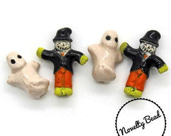 4 - Small - Scarecrow & Ghost Beads - Halloween Beads - Fall Beads - Novelty Beads - Ceramic