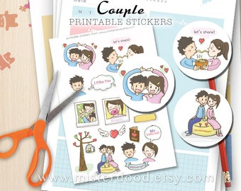 COUPLE Printable Sticker, Daily Lifestyle, Cute Lovers, BGR Bf Gf Doodle Clipart, Kawaii Boy Girl, Montage Collage Planner Diary Journal