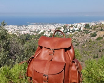 Leather Backpack - Rucksack Handmade. LARGE Size. 3 pockets. Tobacco Color. Available colors: Natural, Black, Tobacco, Dark Brown.