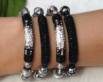 ONE (1) Black and Silver Crystal Pave Tube Beaded Stretch Bracelet