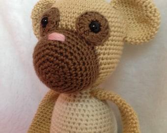 Crochet Monkey Blue-White