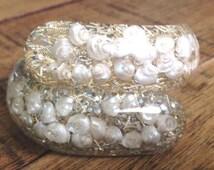 Vintage Lucite Confetti Clamper Bracelet White Seashells Gold Confetti