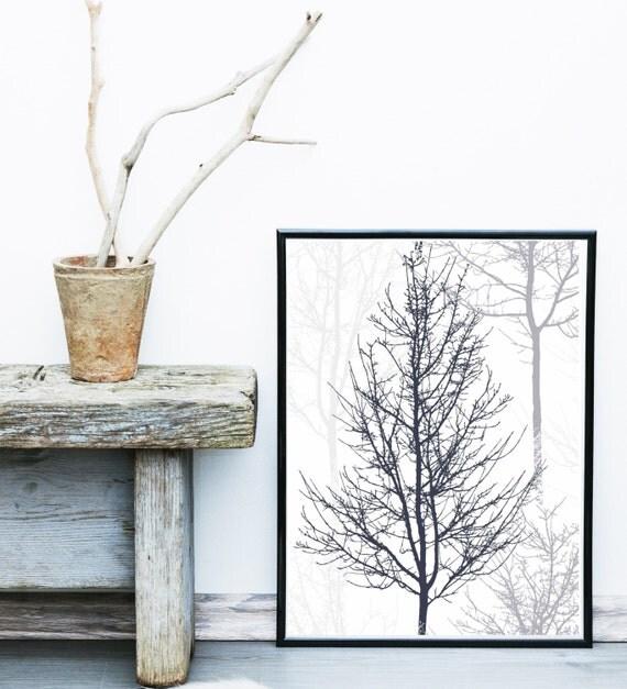 Jual Wall Art Print : Minimalist poster printable art trees branches