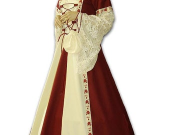Medieval wedding dress veil hood wedding do-it-yourself wedding dress