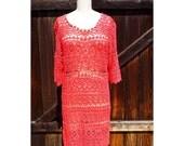 Coral Lace Dress, Crochet Lace Fabric, Lace Dress, Vintage Women's Dress