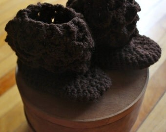 Crocodile Stitch Baby Bootie, Chocolate Brown Baby Booties, Homemade Baby Booties, Baby Slippers, 12 month Booties