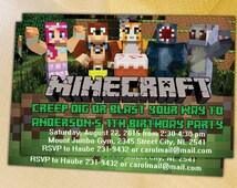 Stampy Cat Birthday Minecraft Invitation