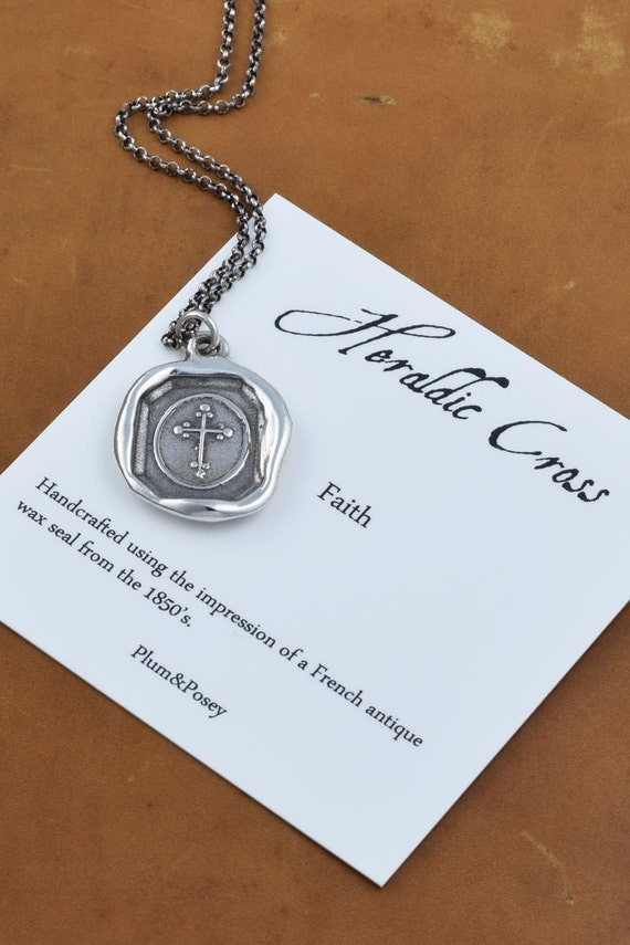 Antique Cross Wax Seal Pendant - Heraldic Cross - 280
