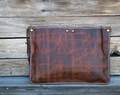 Rustic Leather Clutch / Tablet Sleeve / Leather Portfolio / Handmade Leather Pouch / Mens Zipper Bag / Brown Leather