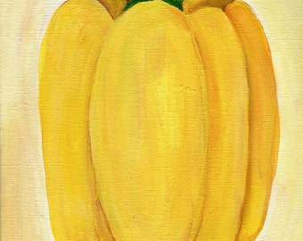 Pepper acrylic painting canvas art Vegetable, kitchen food art  8 x 10 acrylic painting of yellow bell pepper on canvas, kitchen decor