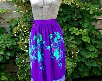Vintage 70s Wraparound Swimsuit Coverup NWT Purple Turquoise Skirt Womens Clothing Size M Swimwear Skirt Festival Bohemian Gypsy