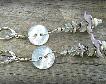 He Loves Me, He Love Me Not, Sweet Daisy Button and Flower Earrings