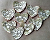 NINE itty bitty Sage edged in gold Heart Ring Bowls bridal Shower favor ceramic